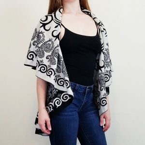 Reversible Black White Wrap Scarf Cashmere